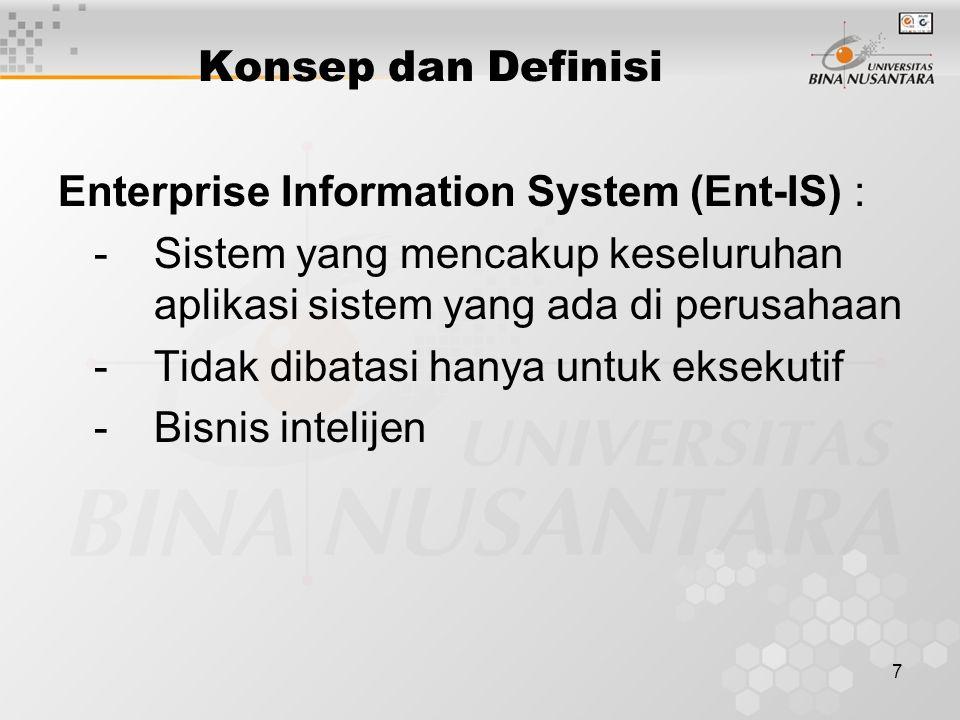 7 Konsep dan Definisi Enterprise Information System (Ent-IS) : - Sistem yang mencakup keseluruhan aplikasi sistem yang ada di perusahaan - Tidak dibatasi hanya untuk eksekutif - Bisnis intelijen