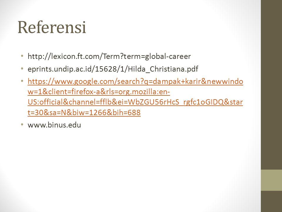 Referensi http://lexicon.ft.com/Term?term=global-career eprints.undip.ac.id/15628/1/Hilda_Christiana.pdf https://www.google.com/search?q=dampak+karir&newwindo w=1&client=firefox-a&rls=org.mozilla:en- US:official&channel=fflb&ei=WbZGU56rHcS_rgfc1oGIDQ&star t=30&sa=N&biw=1266&bih=688 https://www.google.com/search?q=dampak+karir&newwindo w=1&client=firefox-a&rls=org.mozilla:en- US:official&channel=fflb&ei=WbZGU56rHcS_rgfc1oGIDQ&star t=30&sa=N&biw=1266&bih=688 www.binus.edu