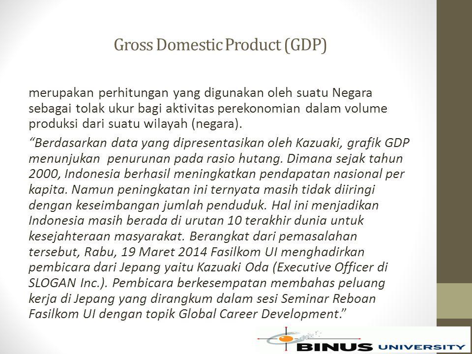 Gross Domestic Product (GDP) merupakan perhitungan yang digunakan oleh suatu Negara sebagai tolak ukur bagi aktivitas perekonomian dalam volume produksi dari suatu wilayah (negara).