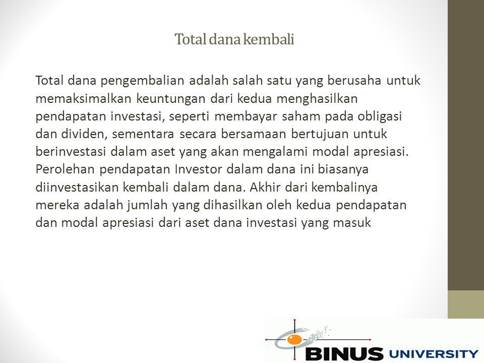 Total dana kembali Total dana pengembalian adalah salah satu yang berusaha untuk memaksimalkan keuntungan dari kedua menghasilkan pendapatan investasi