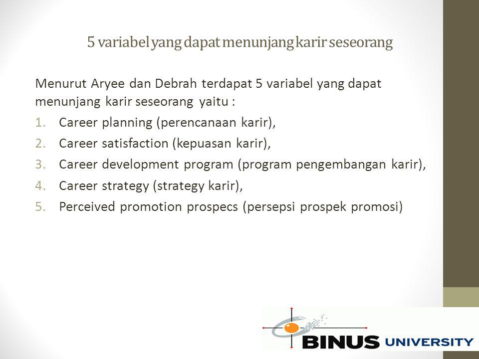 5 variabel yang dapat menunjang karir seseorang Menurut Aryee dan Debrah terdapat 5 variabel yang dapat menunjang karir seseorang yaitu : 1.Career pla