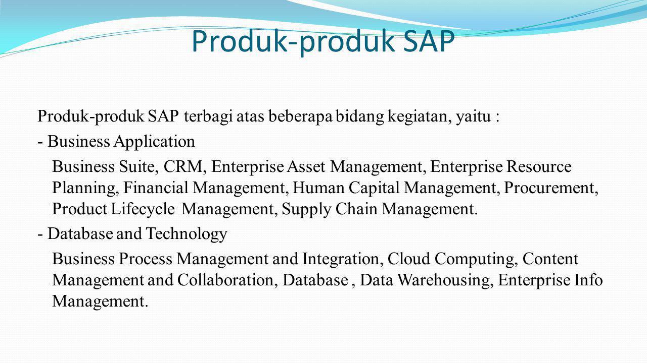 Produk-produk SAP Produk-produk SAP terbagi atas beberapa bidang kegiatan, yaitu : - Business Application Business Suite, CRM, Enterprise Asset Manage