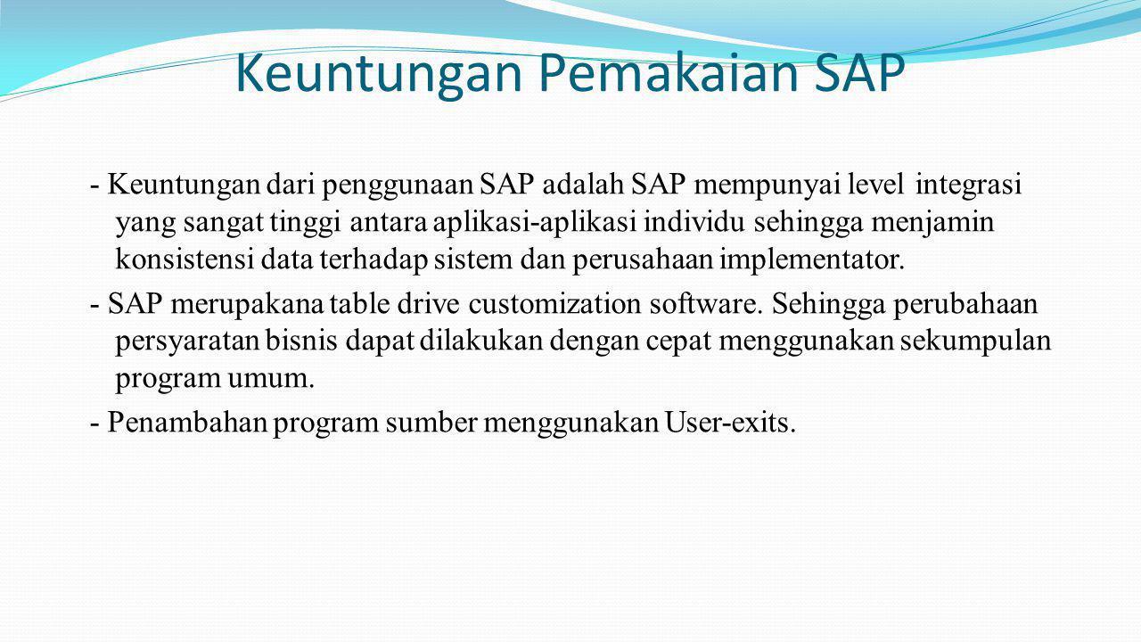 Keuntungan Pemakaian SAP - Keuntungan dari penggunaan SAP adalah SAP mempunyai level integrasi yang sangat tinggi antara aplikasi-aplikasi individu se