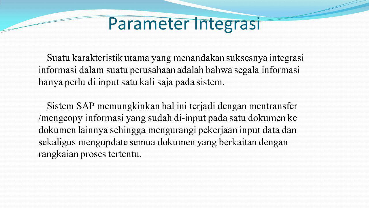 Parameter Integrasi Suatu karakteristik utama yang menandakan suksesnya integrasi informasi dalam suatu perusahaan adalah bahwa segala informasi hanya