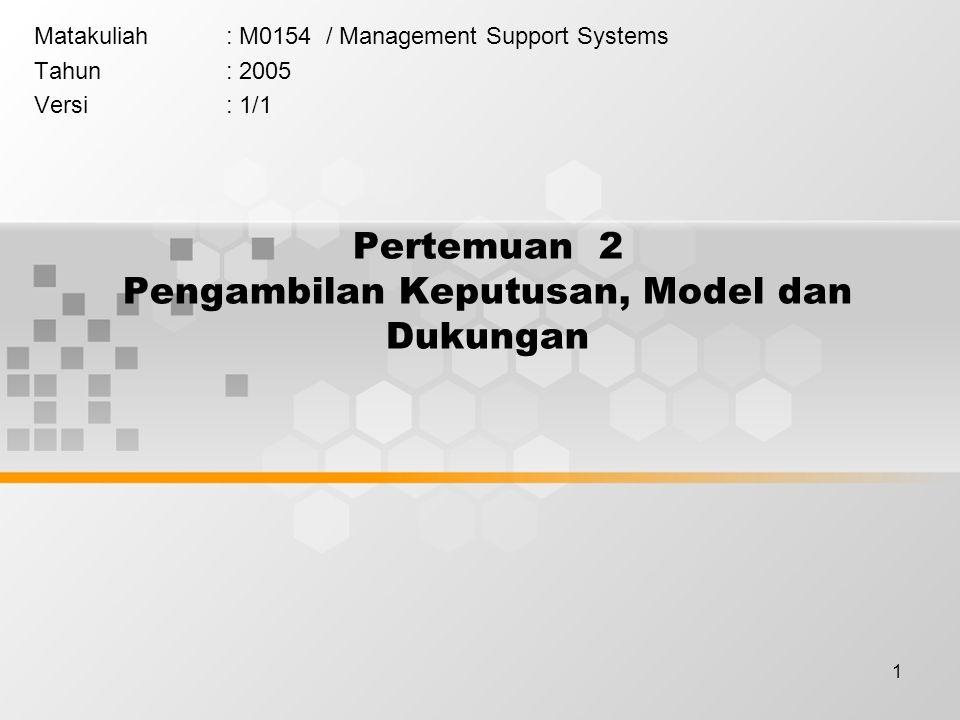 1 Pertemuan 2 Pengambilan Keputusan, Model dan Dukungan Matakuliah: M0154 / Management Support Systems Tahun: 2005 Versi: 1/1