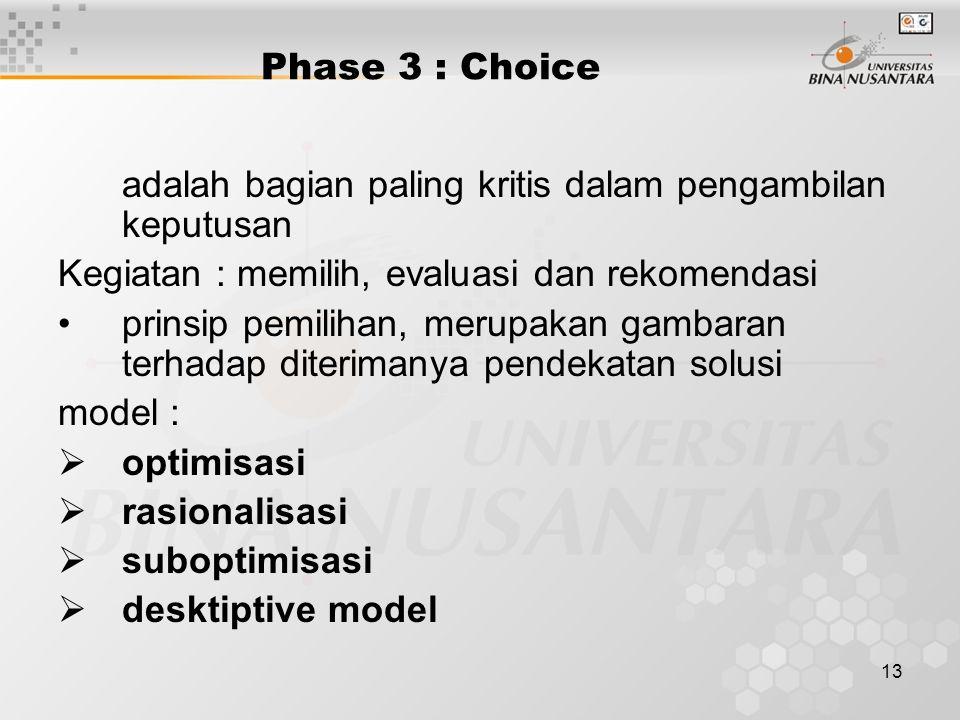 13 Phase 3 : Choice adalah bagian paling kritis dalam pengambilan keputusan Kegiatan : memilih, evaluasi dan rekomendasi prinsip pemilihan, merupakan