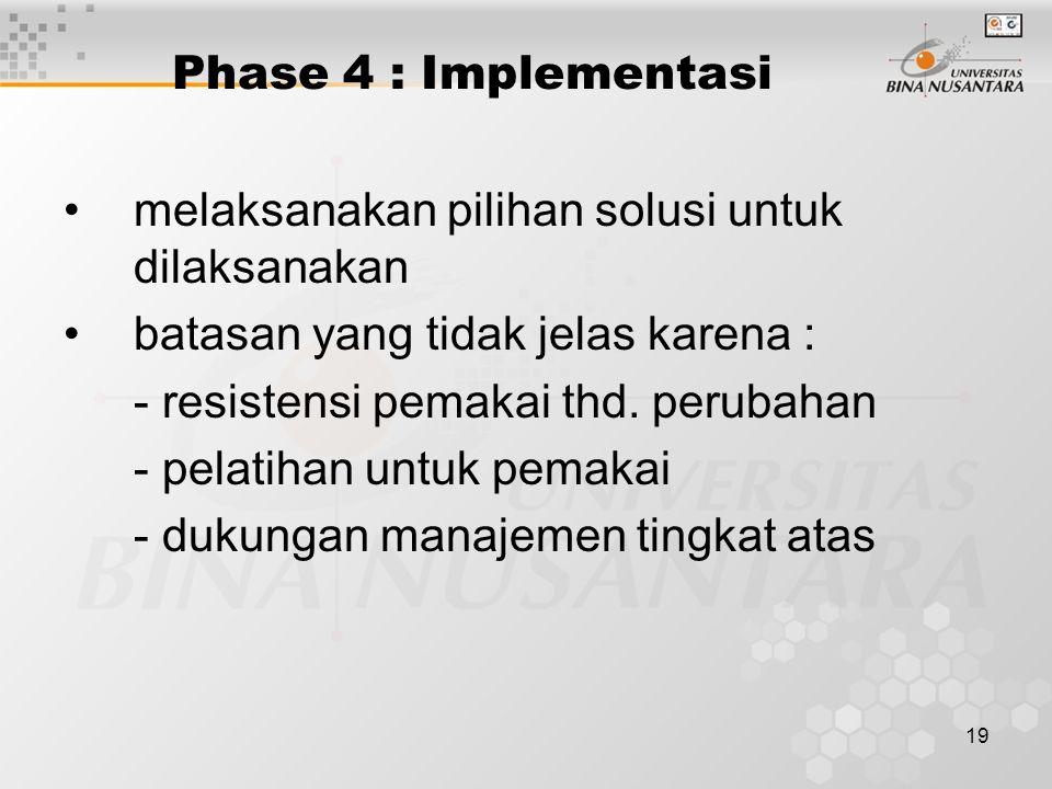 19 Phase 4 : Implementasi melaksanakan pilihan solusi untuk dilaksanakan batasan yang tidak jelas karena : - resistensi pemakai thd. perubahan - pelat