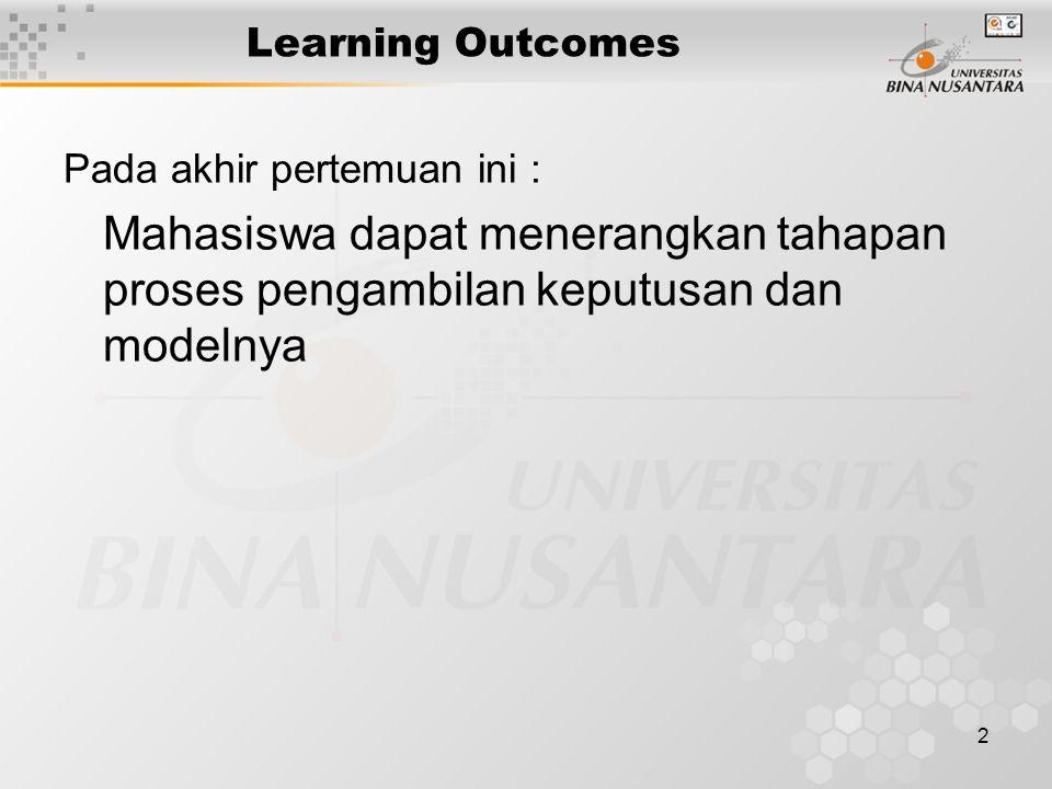 2 Learning Outcomes Pada akhir pertemuan ini : Mahasiswa dapat menerangkan tahapan proses pengambilan keputusan dan modelnya