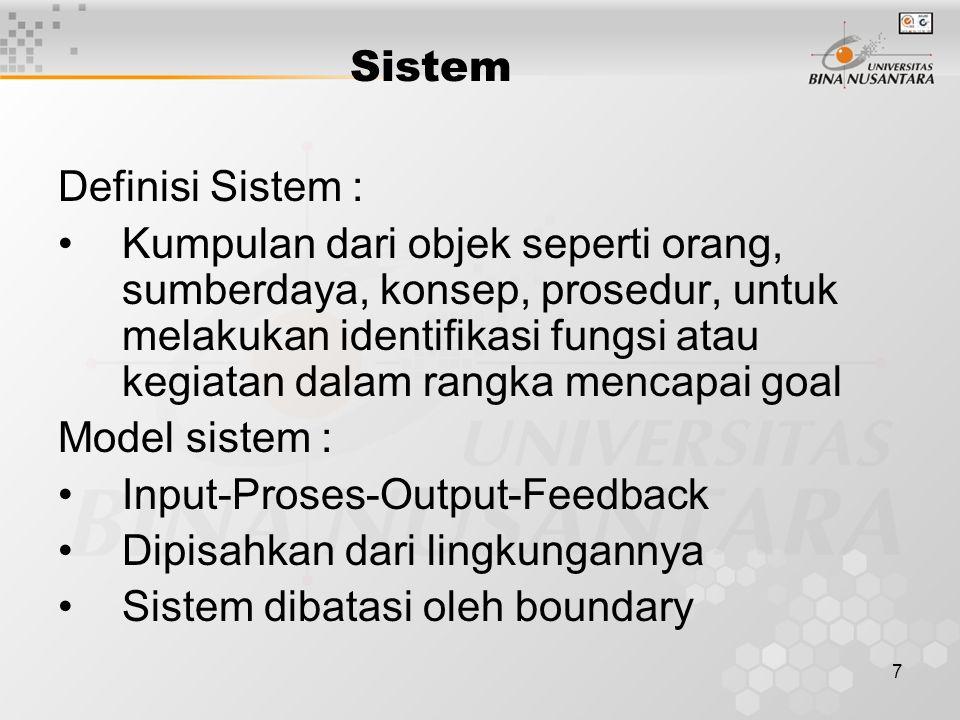 7 Sistem Definisi Sistem : Kumpulan dari objek seperti orang, sumberdaya, konsep, prosedur, untuk melakukan identifikasi fungsi atau kegiatan dalam ra
