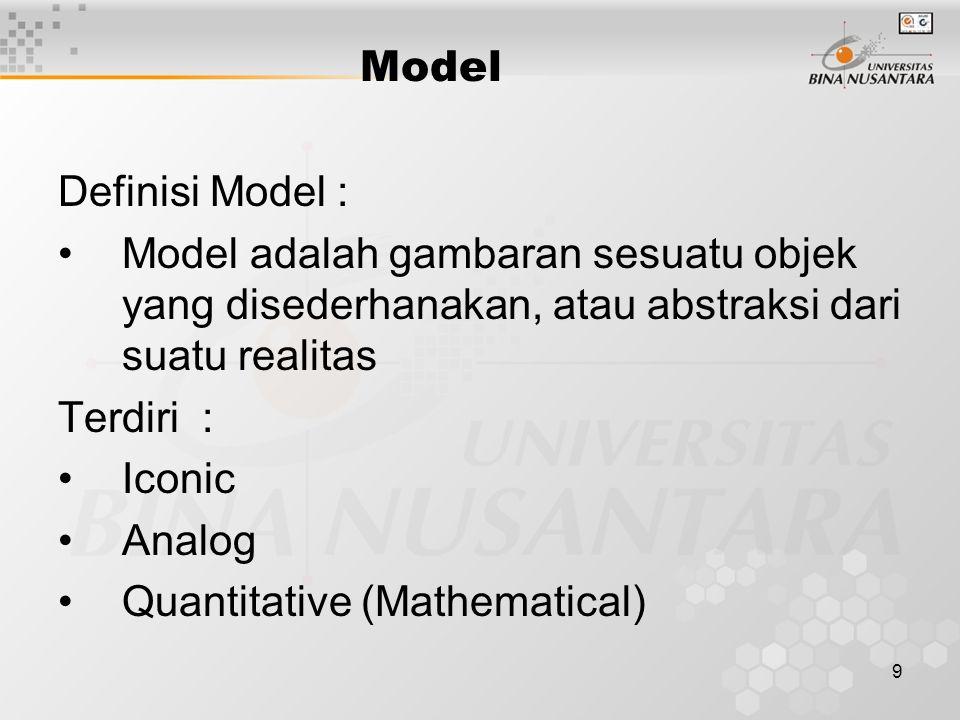 9 Model Definisi Model : Model adalah gambaran sesuatu objek yang disederhanakan, atau abstraksi dari suatu realitas Terdiri : Iconic Analog Quantitat