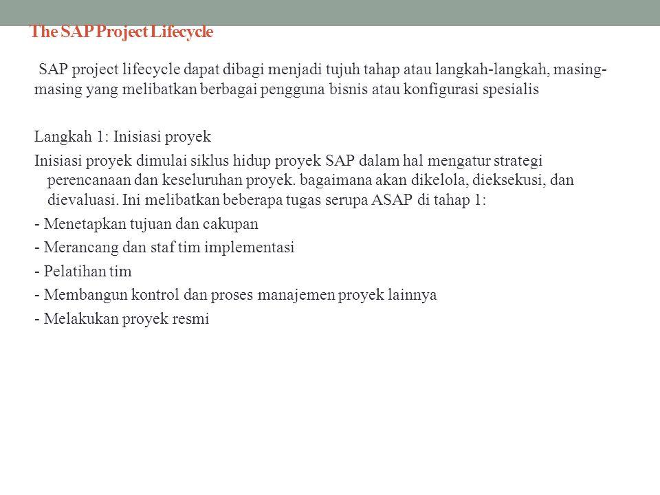 The SAP Project Lifecycle SAP project lifecycle dapat dibagi menjadi tujuh tahap atau langkah-langkah, masing- masing yang melibatkan berbagai penggun