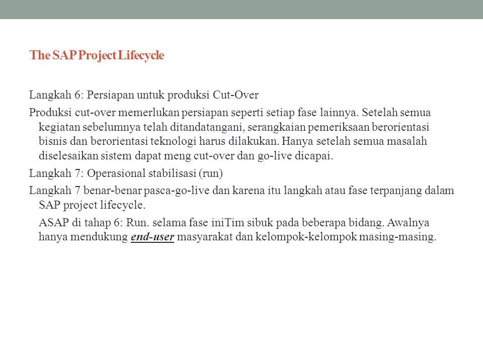 The SAP Project Lifecycle Langkah 6: Persiapan untuk produksi Cut-Over Produksi cut-over memerlukan persiapan seperti setiap fase lainnya. Setelah sem