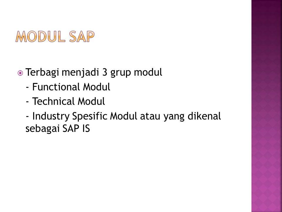  Terbagi menjadi 3 grup modul - Functional Modul - Technical Modul - Industry Spesific Modul atau yang dikenal sebagai SAP IS