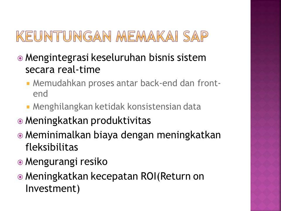  Mengintegrasi keseluruhan bisnis sistem secara real-time  Memudahkan proses antar back-end dan front- end  Menghilangkan ketidak konsistensian data  Meningkatkan produktivitas  Meminimalkan biaya dengan meningkatkan fleksibilitas  Mengurangi resiko  Meningkatkan kecepatan ROI(Return on Investment)