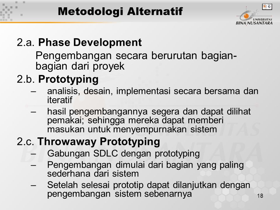 18 Metodologi Alternatif 2.a. Phase Development Pengembangan secara berurutan bagian- bagian dari proyek 2.b. Prototyping –analisis, desain, implement