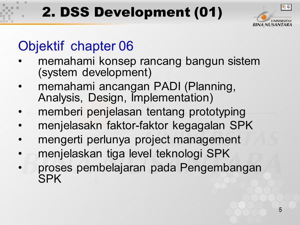 5 2. DSS Development (01) Objektif chapter 06 memahami konsep rancang bangun sistem (system development) memahami ancangan PADI (Planning, Analysis, D