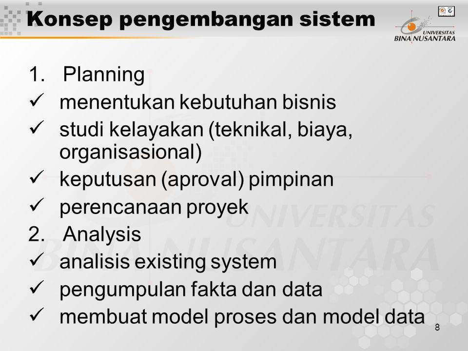 8 1. Planning menentukan kebutuhan bisnis studi kelayakan (teknikal, biaya, organisasional) keputusan (aproval) pimpinan perencanaan proyek 2. Analysi