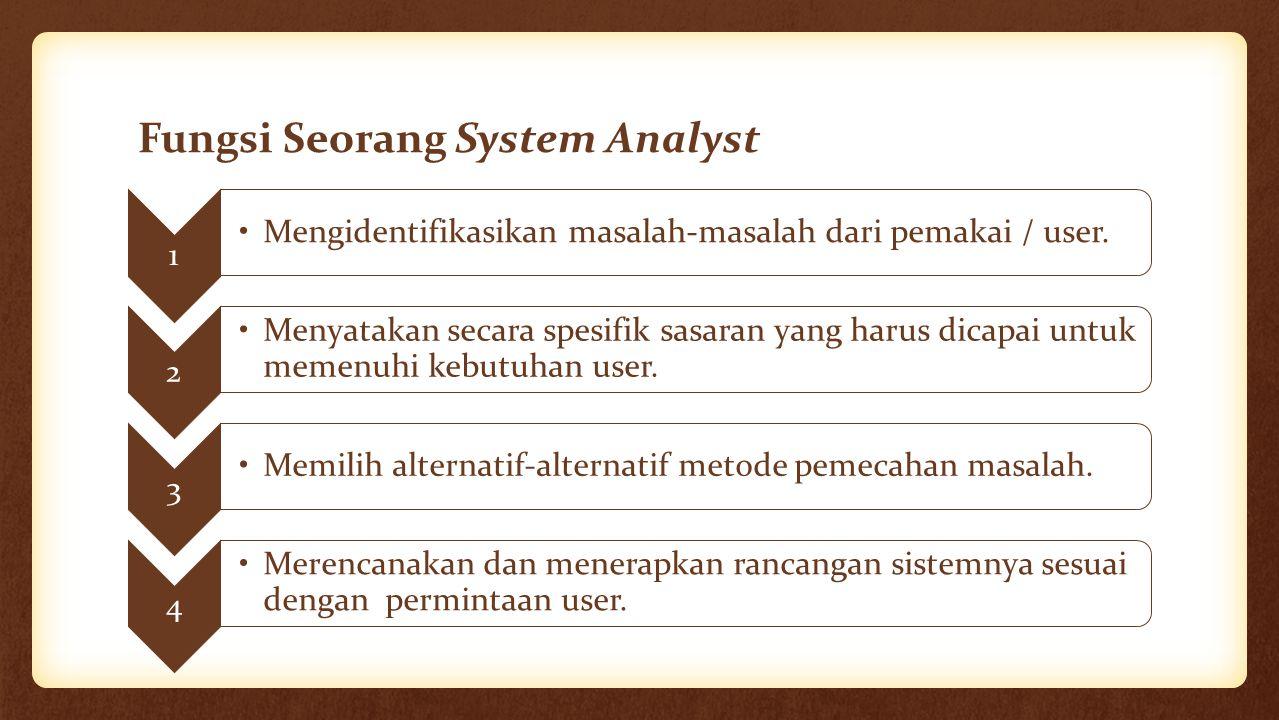 Fungsi Seorang System Analyst 1 Mengidentifikasikan masalah-masalah dari pemakai / user. 2 Menyatakan secara spesifik sasaran yang harus dicapai untuk