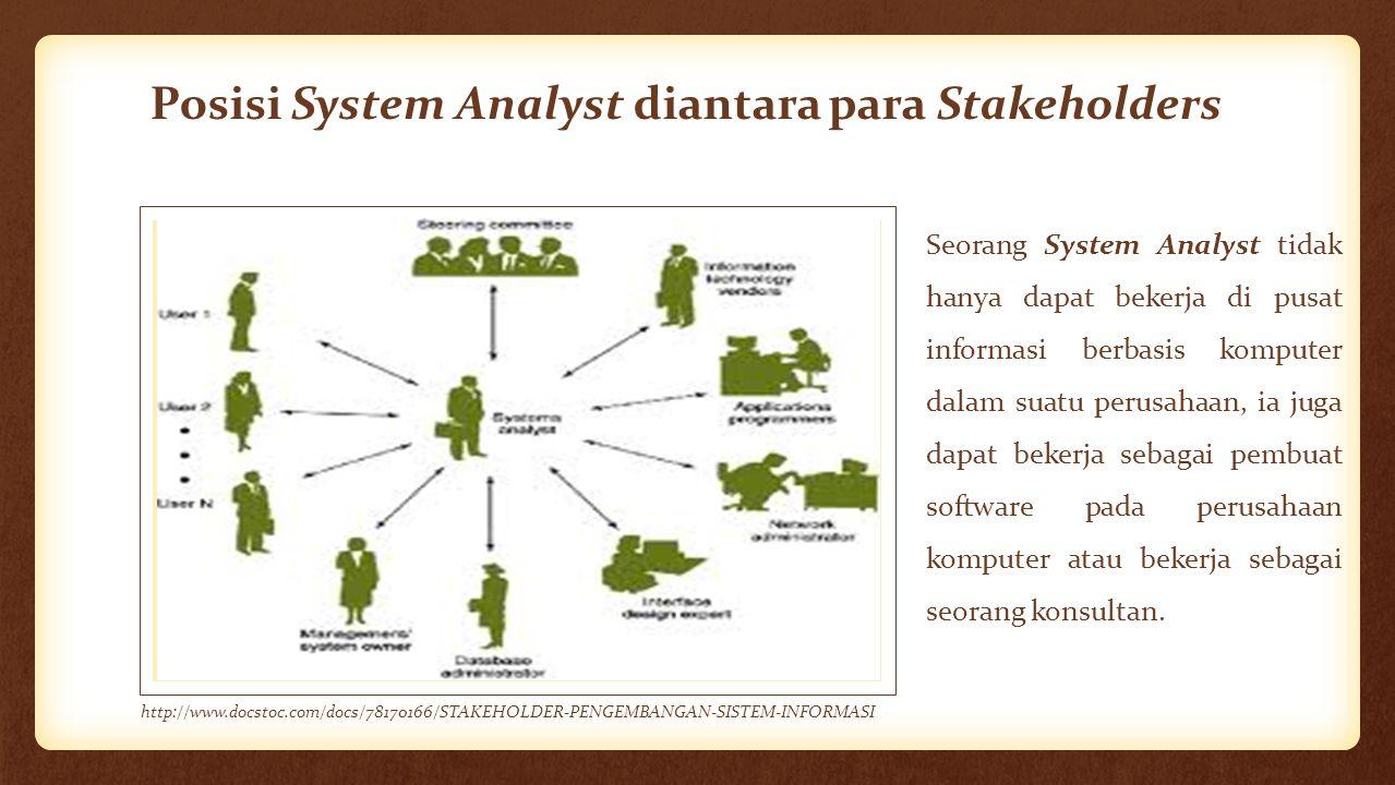 Posisi System Analyst diantara para Stakeholders Seorang System Analyst tidak hanya dapat bekerja di pusat informasi berbasis komputer dalam suatu per
