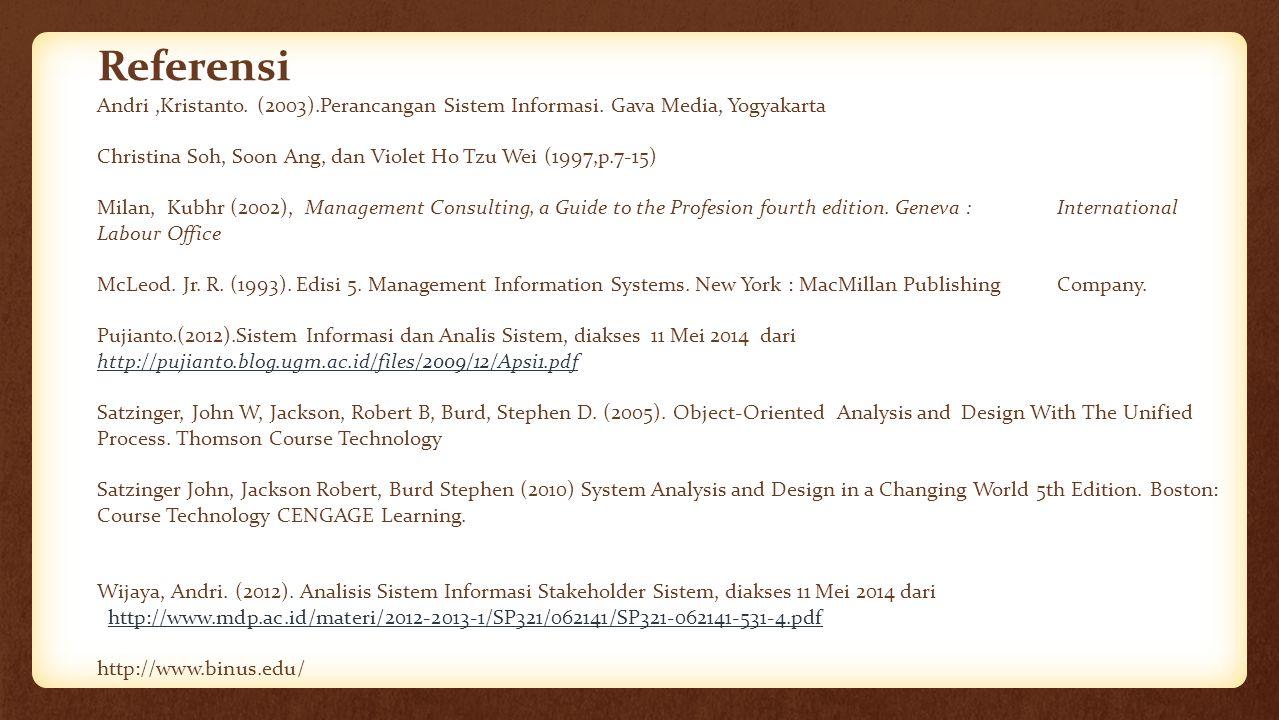 Referensi Andri,Kristanto. (2003).Perancangan Sistem Informasi. Gava Media, Yogyakarta Christina Soh, Soon Ang, dan Violet Ho Tzu Wei (1997,p.7-15) Mi