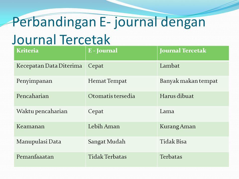 Perbandingan E- journal dengan Journal Tercetak KriteriaE - JournalJournal Tercetak Kecepatan Data DiterimaCepatLambat PenyimpananHemat TempatBanyak makan tempat PencaharianOtomatis tersediaHarus dibuat Waktu pencaharianCepatLama KeamananLebih AmanKurang Aman Manupulasi DataSangat MudahTidak Bisa PemanfaaatanTidak TerbatasTerbatas
