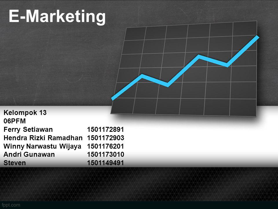 E-Marketing Kelompok 13 06PFM Ferry Setiawan1501172891 Hendra Rizki Ramadhan1501172903 Winny Narwastu Wijaya1501176201 Andri Gunawan1501173010 Steven1501149491