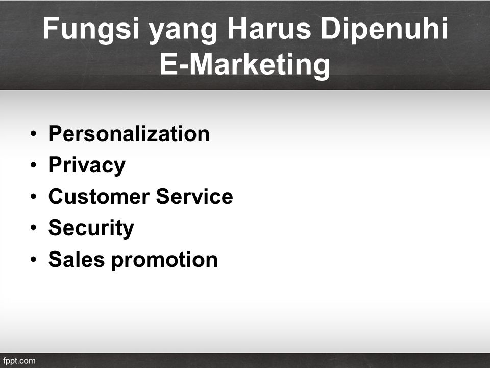 Fungsi yang Harus Dipenuhi E-Marketing Personalization Privacy Customer Service Security Sales promotion