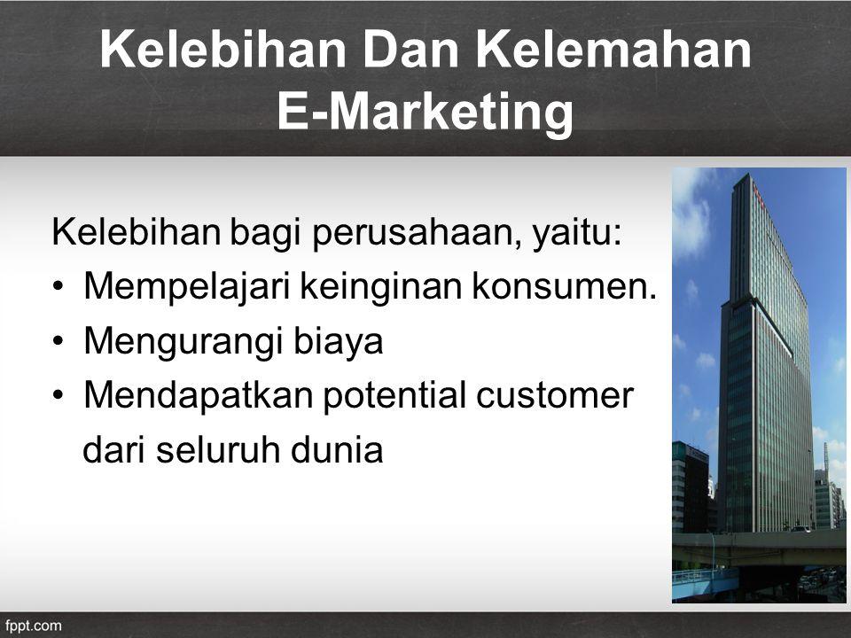 Kelebihan Dan Kelemahan E-Marketing Kelebihan bagi perusahaan, yaitu: Mempelajari keinginan konsumen.