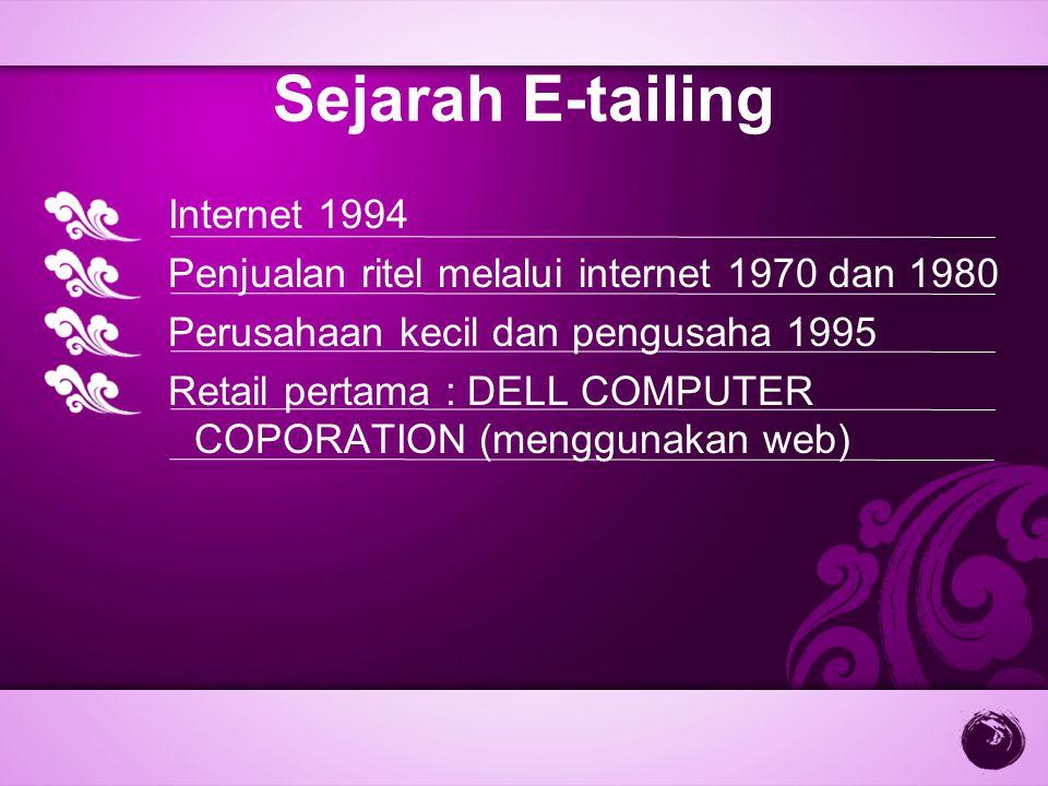 Sejarah E-tailing Internet 1994 Penjualan ritel melalui internet 1970 dan 1980 Perusahaan kecil dan pengusaha 1995 Retail pertama : DELL COMPUTER COPO