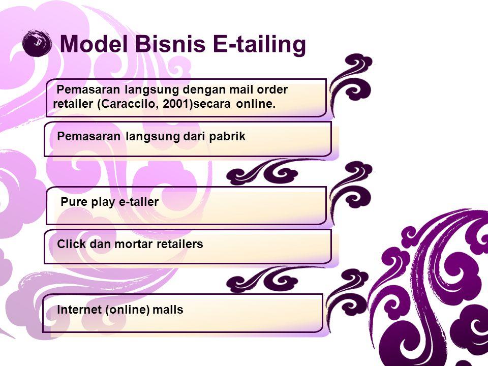 Pemasaran langsung dengan mail order retailer (Caraccilo, 2001)secara online. Pemasaran langsung dari pabrik Model Bisnis E-tailing Pure play e-tailer