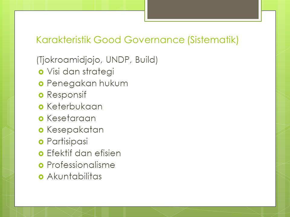 Karakteristik Good Governance (Sistematik) (Tjokroamidjojo, UNDP, Build)  Visi dan strategi  Penegakan hukum  Responsif  Keterbukaan  Kesetaraan  Kesepakatan  Partisipasi  Efektif dan efisien  Professionalisme  Akuntabilitas