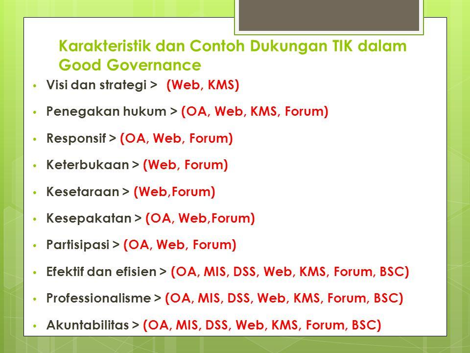Karakteristik dan Contoh Dukungan TIK dalam Good Governance Visi dan strategi > (Web, KMS) Penegakan hukum > (OA, Web, KMS, Forum) Responsif > (OA, Web, Forum) Keterbukaan > (Web, Forum) Kesetaraan > (Web,Forum) Kesepakatan > (OA, Web,Forum) Partisipasi > (OA, Web, Forum) Efektif dan efisien > (OA, MIS, DSS, Web, KMS, Forum, BSC) Professionalisme > (OA, MIS, DSS, Web, KMS, Forum, BSC) Akuntabilitas > (OA, MIS, DSS, Web, KMS, Forum, BSC)