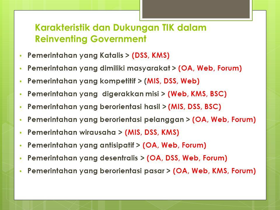 Karakteristik dan Dukungan TIK dalam Reinventing Government Pemerintahan yang Katalis > (DSS, KMS) Pemerintahan yang dimiliki masyarakat > (OA, Web, Forum) Pemerintahan yang kompetitif > (MIS, DSS, Web) Pemerintahan yang digerakkan misi > (Web, KMS, BSC) Pemerintahan yang berorientasi hasil >(MIS, DSS, BSC) Pemerintahan yang berorientasi pelanggan > (OA, Web, Forum) Pemerintahan wirausaha > (MIS, DSS, KMS) Pemerintahan yang antisipatif > (OA, Web, Forum) Pemerintahan yang desentralis > (OA, DSS, Web, Forum) Pemerintahan yang berorientasi pasar > (OA, Web, KMS, Forum)