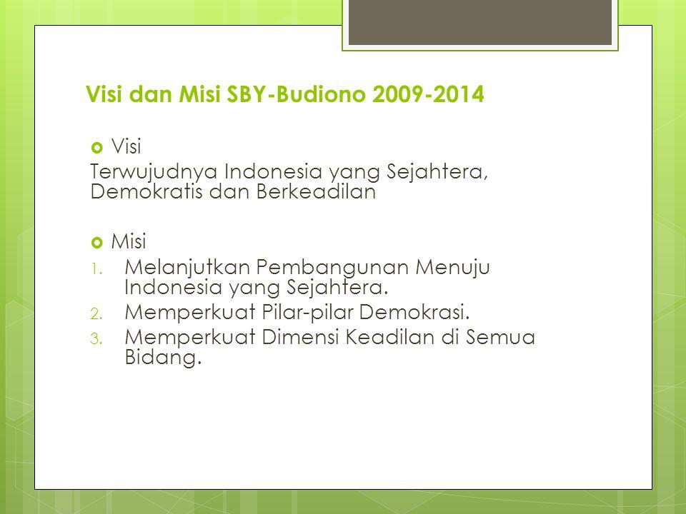 Visi dan Misi SBY-Budiono 2009-2014  Visi Terwujudnya Indonesia yang Sejahtera, Demokratis dan Berkeadilan  Misi 1.