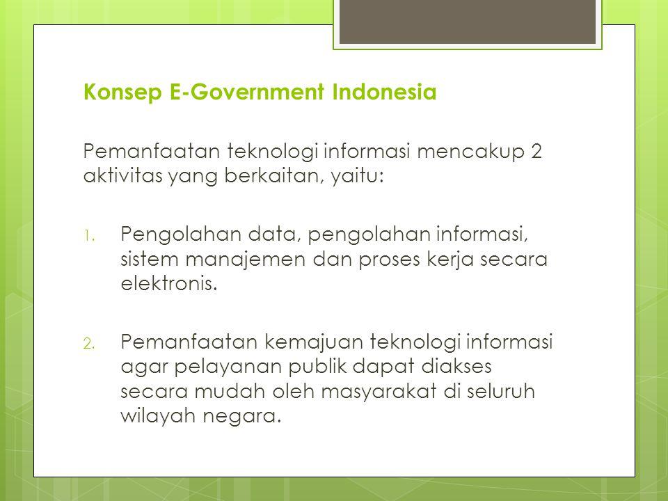 Konsep E-Government Indonesia Pemanfaatan teknologi informasi mencakup 2 aktivitas yang berkaitan, yaitu: 1.