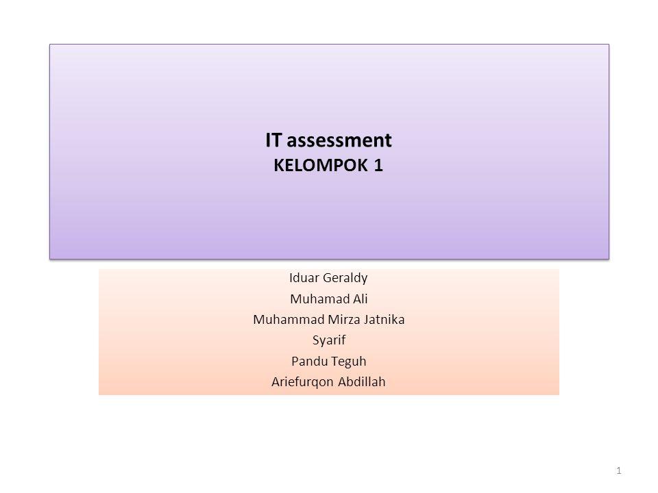 IT assessment KELOMPOK 1 Iduar Geraldy Muhamad Ali Muhammad Mirza Jatnika Syarif Pandu Teguh Ariefurqon Abdillah 1
