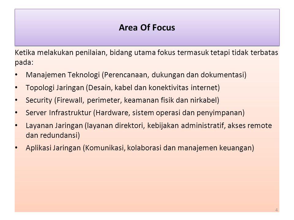Area Of Focus Ketika melakukan penilaian, bidang utama fokus termasuk tetapi tidak terbatas pada: Manajemen Teknologi (Perencanaan, dukungan dan dokum