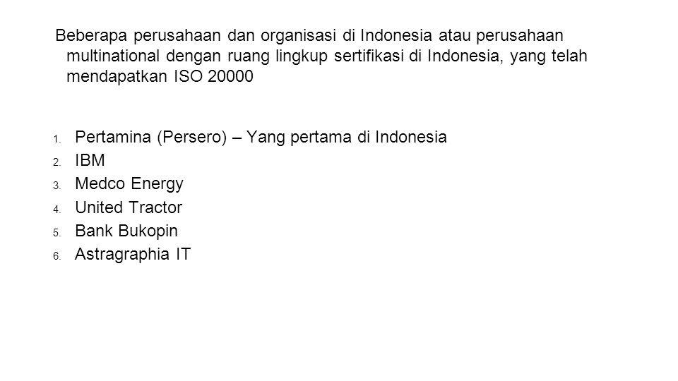 Beberapa perusahaan dan organisasi di Indonesia atau perusahaan multinational dengan ruang lingkup sertifikasi di Indonesia, yang telah mendapatkan IS