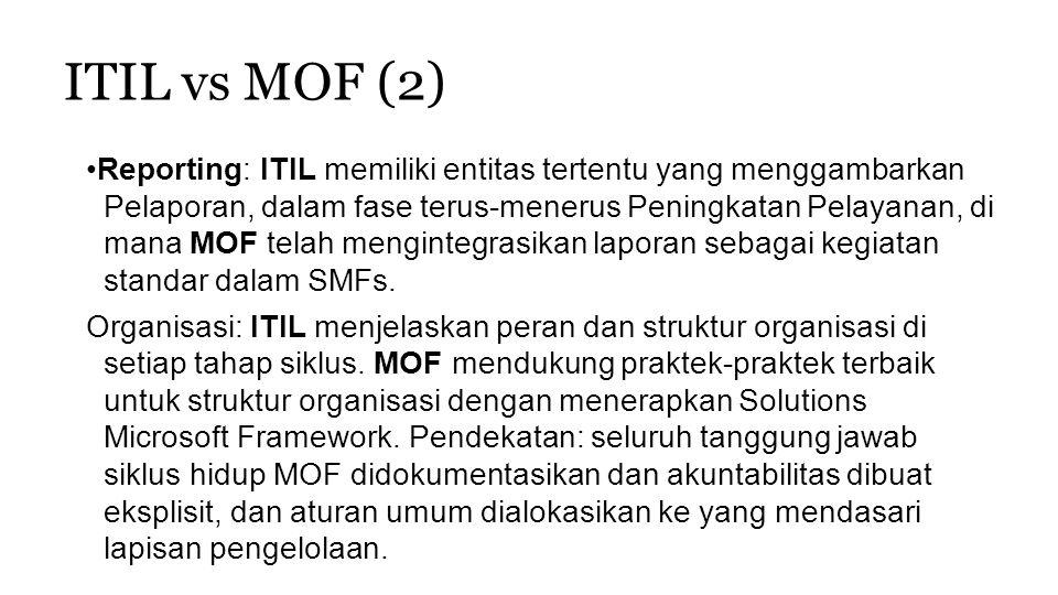 ITIL vs MOF (2) Reporting: ITIL memiliki entitas tertentu yang menggambarkan Pelaporan, dalam fase terus-menerus Peningkatan Pelayanan, di mana MOF te