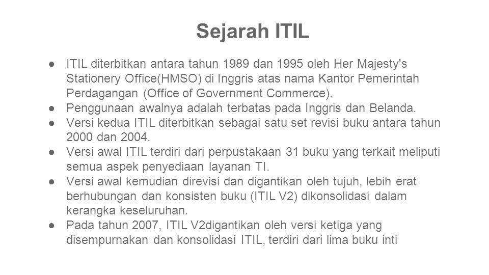 ●ITIL diterbitkan antara tahun 1989 dan 1995 oleh Her Majesty's Stationery Office(HMSO) di Inggris atas nama Kantor Pemerintah Perdagangan (Office of