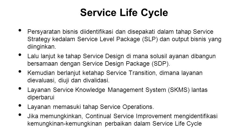 Persyaratan bisnis diidentifikasi dan disepakati dalam tahap Service Strategy kedalam Service Level Package (SLP) dan output bisnis yang diinginkan. L