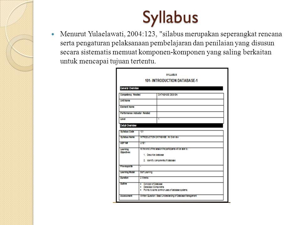 Syllabus Menurut Yulaelawati, 2004:123, silabus merupakan seperangkat rencana serta pengaturan pelaksanaan pembelajaran dan penilaian yang disusun secara sistematis memuat komponen-komponen yang saling berkaitan untuk mencapai tujuan tertentu.