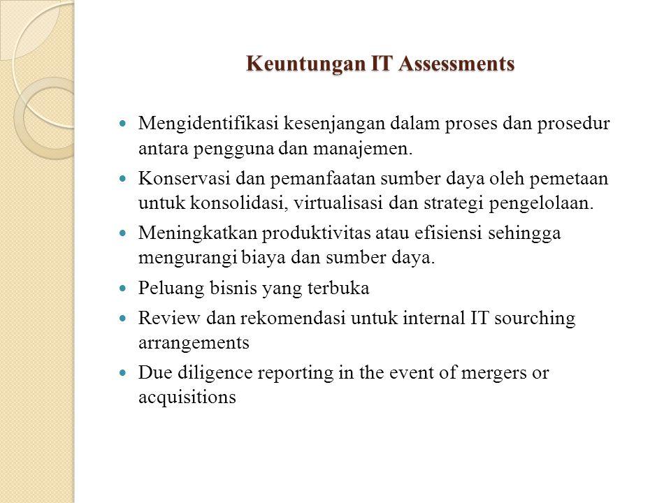Keuntungan IT Assessments Mengidentifikasi kesenjangan dalam proses dan prosedur antara pengguna dan manajemen.