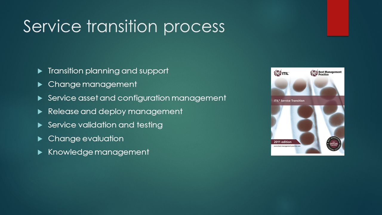Service transition process  Transition planning and support  Change management  Service asset and configuration management  Release and deploy man