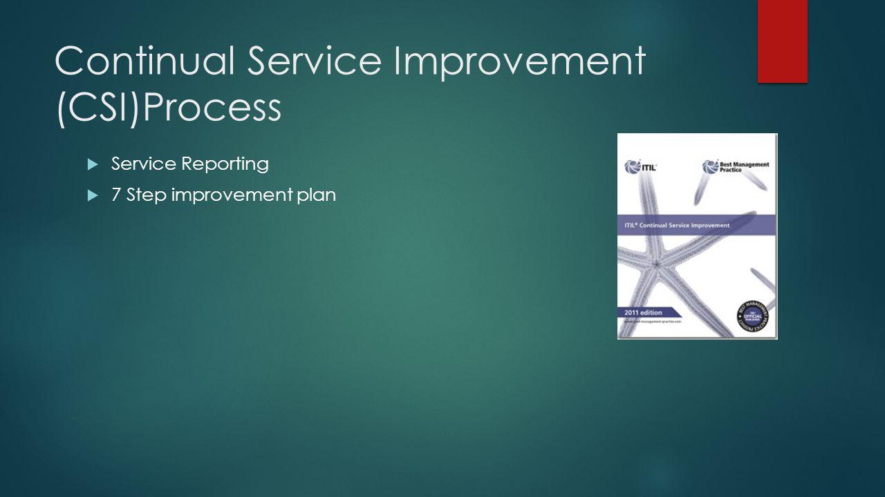 Continual Service Improvement (CSI)Process  Service Reporting  7 Step improvement plan