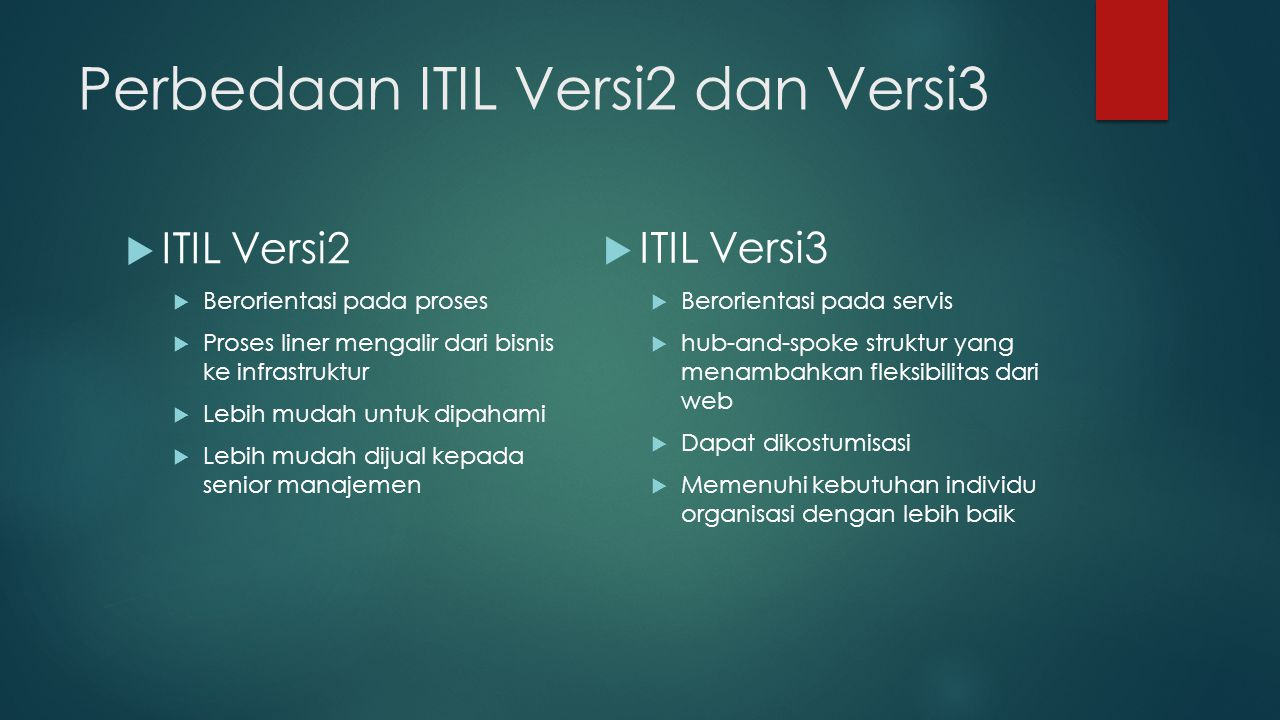 Perbedaan ITIL Versi2 dan Versi3  ITIL Versi2  Berorientasi pada proses  Proses liner mengalir dari bisnis ke infrastruktur  Lebih mudah untuk dipahami  Lebih mudah dijual kepada senior manajemen  ITIL Versi3  Berorientasi pada servis  hub-and-spoke struktur yang menambahkan fleksibilitas dari web  Dapat dikostumisasi  Memenuhi kebutuhan individu organisasi dengan lebih baik
