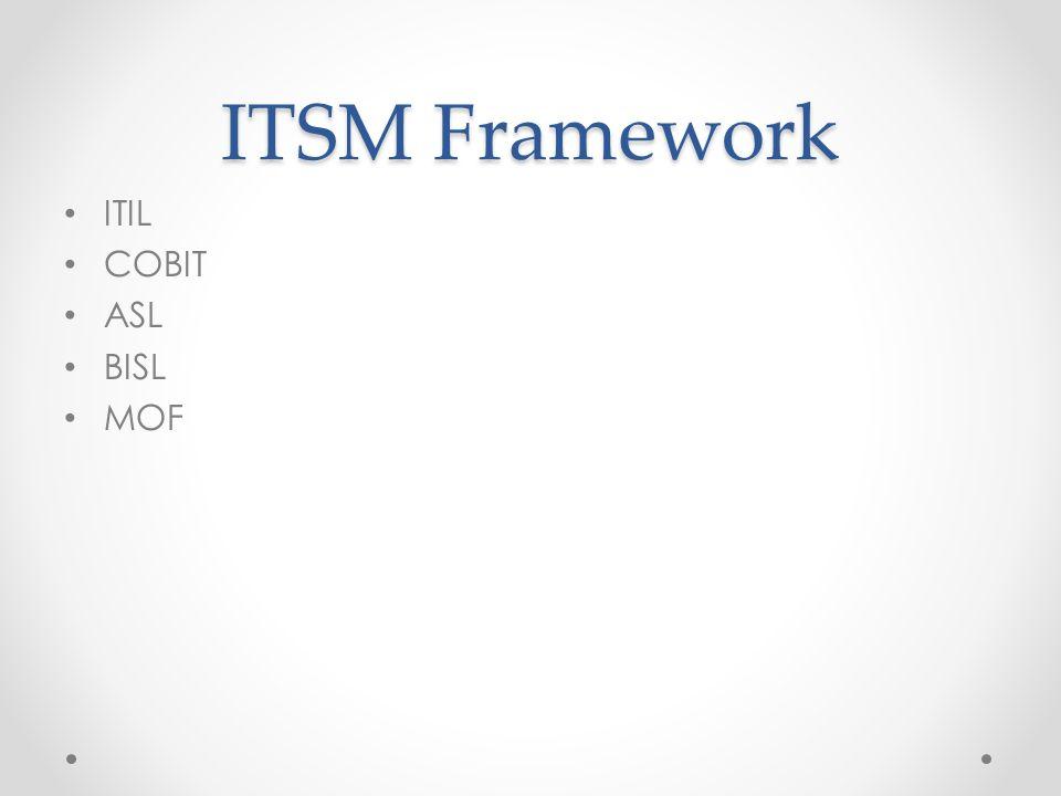 ITIL Framework ITIL = Information Technology Infrastructure Library Untuk menghindari ketidaksesuaian antara proses bisnis dengan ketersediaan infrastruktur IT.