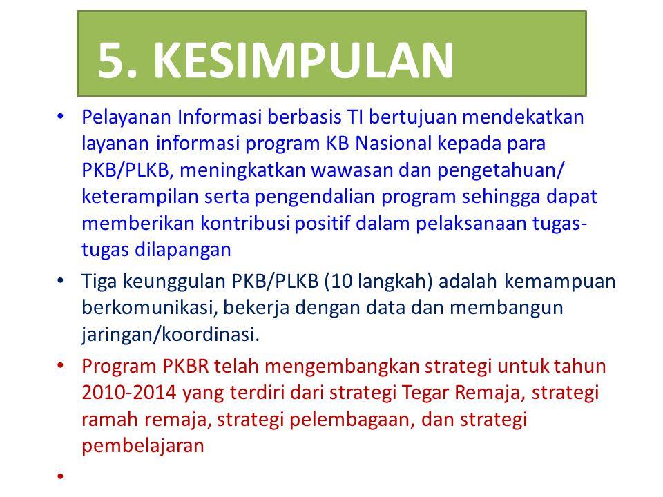 5. KESIMPULAN Pelayanan Informasi berbasis TI bertujuan mendekatkan layanan informasi program KB Nasional kepada para PKB/PLKB, meningkatkan wawasan d