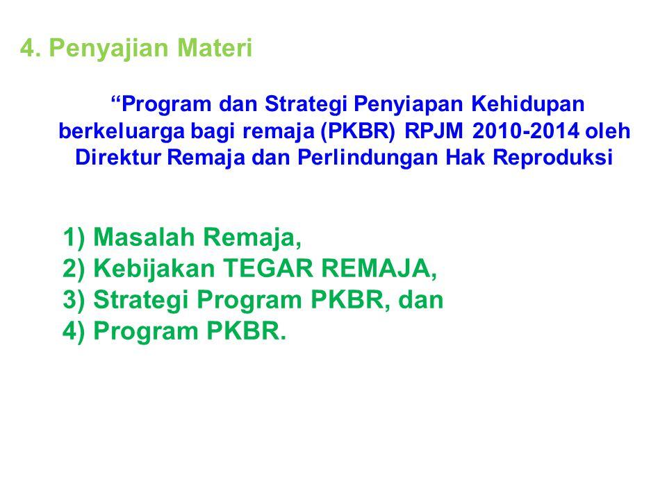 """4. Penyajian Materi 1) Masalah Remaja, 2) Kebijakan TEGAR REMAJA, 3) Strategi Program PKBR, dan 4) Program PKBR. """"Program dan Strategi Penyiapan Kehid"""