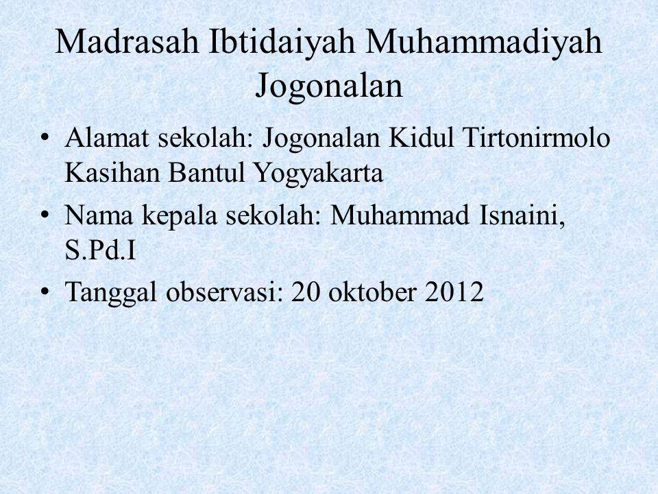 Madrasah Ibtidaiyah Muhammadiyah Jogonalan Alamat sekolah: Jogonalan Kidul Tirtonirmolo Kasihan Bantul Yogyakarta Nama kepala sekolah: Muhammad Isnain